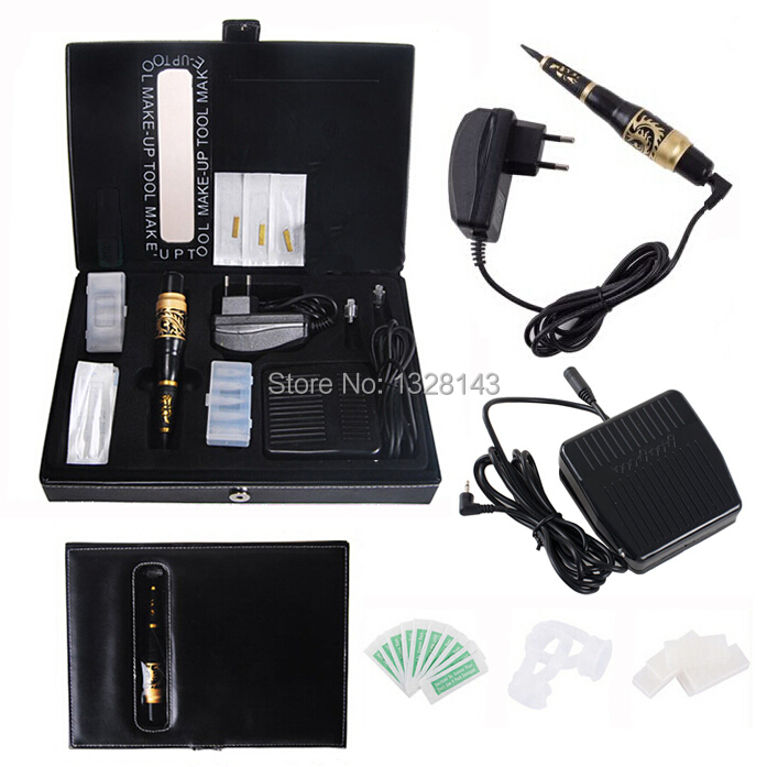 Wholesale High Quality Permanent Makeup Kit Professional Tattoo Eyebrow Machine pen Power Supply Free shipping professional permanent makeup kit new dark black high quality tattoo eyebrow machine pen free shipping