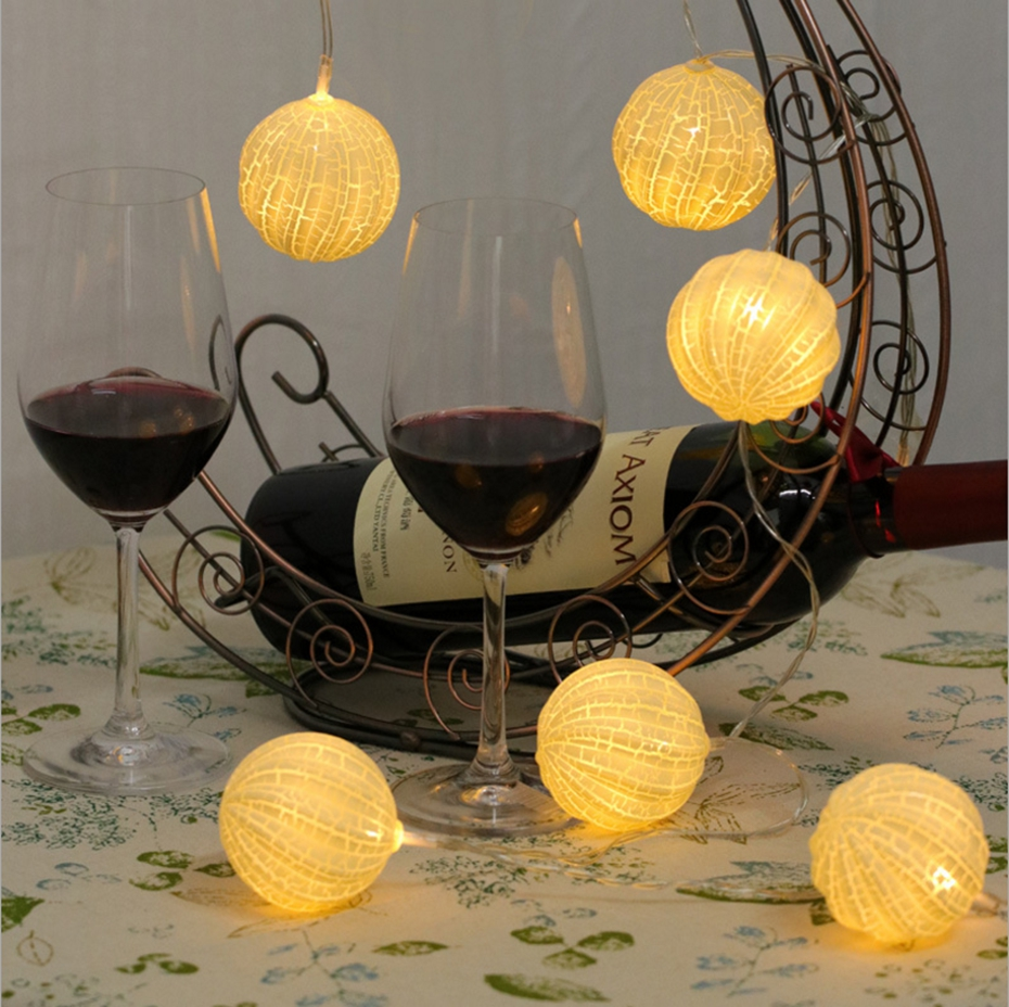 YINGTOUMAN 4M 20LED Yellow Crack Ball UBS Type Lamp Christmas Light Outdoor Holiday Party Lighting Wedding String Light