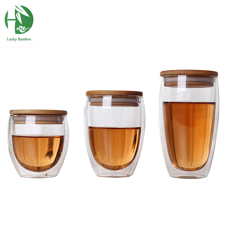 double glass cup coffee Mugs Tea Cup transparent heat resistant glass cups with bamboo insulation cup