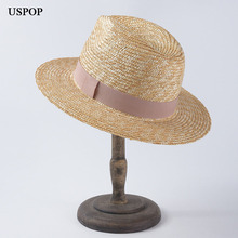 USPOP 2019 Newest women sun hats unisex original wheat straw jazz summer beach hat casual couple