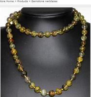 Per i monili delle donne choker anime gem 10mm pietra naturale yellow dragon veins gemma gemma rotonda perline lunga collana a catena