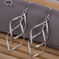 GAGAFEEL Hot long leaf dangle Drop Earrings fashion silver Plated vintage Elegant wholesale women wedding jewelry SE168