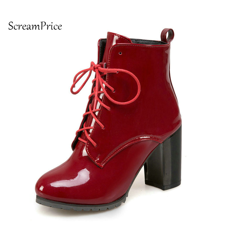 Woman Sqaure High Heel Lace Up Ankle Boots Fashion Side Zipper Dress Round Toe Boots Short Plush Winter Boots Black Red Blue 2017 fall winter blue denim short sandal boots front back lace up open toe ankle boots brown black high heel high top sandals