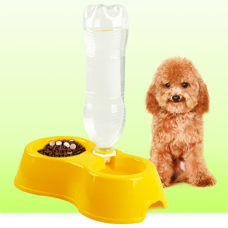 Pet Feeder Plastic Dual Port Automatic Feeder Water Drinking Feeding Basin Bowls For Cats Pet Dogs without Bottle TB Sal
