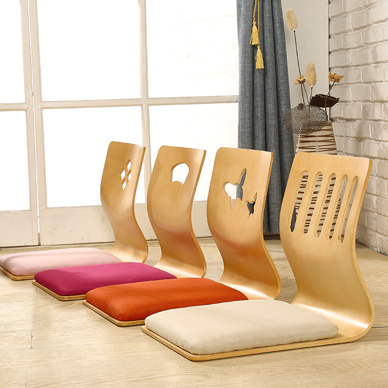 цены 4pcs/lot Japanese Style Legless Chair Thick Cushion Seat Living Room Furniture Asian Tatami Floor Zaisu Chair Natural Finish