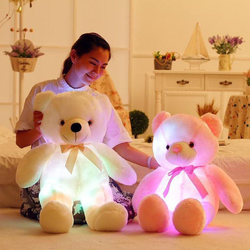 75CM Flashing Plush Toy Stuffed Led Light Teddy Bear Kid Toy Cute Luminous Colorful Baby Doll Best Gift For Children And Friends 75cm led luminous glowing toy light up plush rabbit doll christmas new year birthday gift for kid girlfriend child wj447