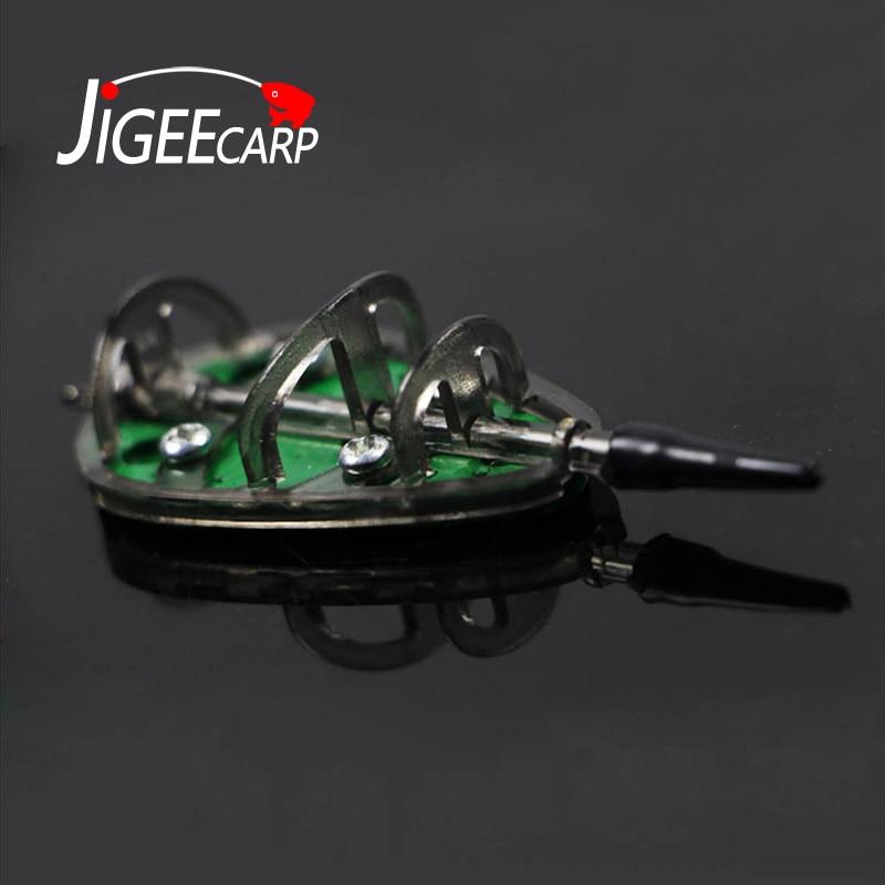 JIGEECARP 1pc Carp Barbel Coarse Inline Flat Method Set Feeder & Mould For Carp Fishing Feeder Lead Sinker Lead Pesca 20-100g