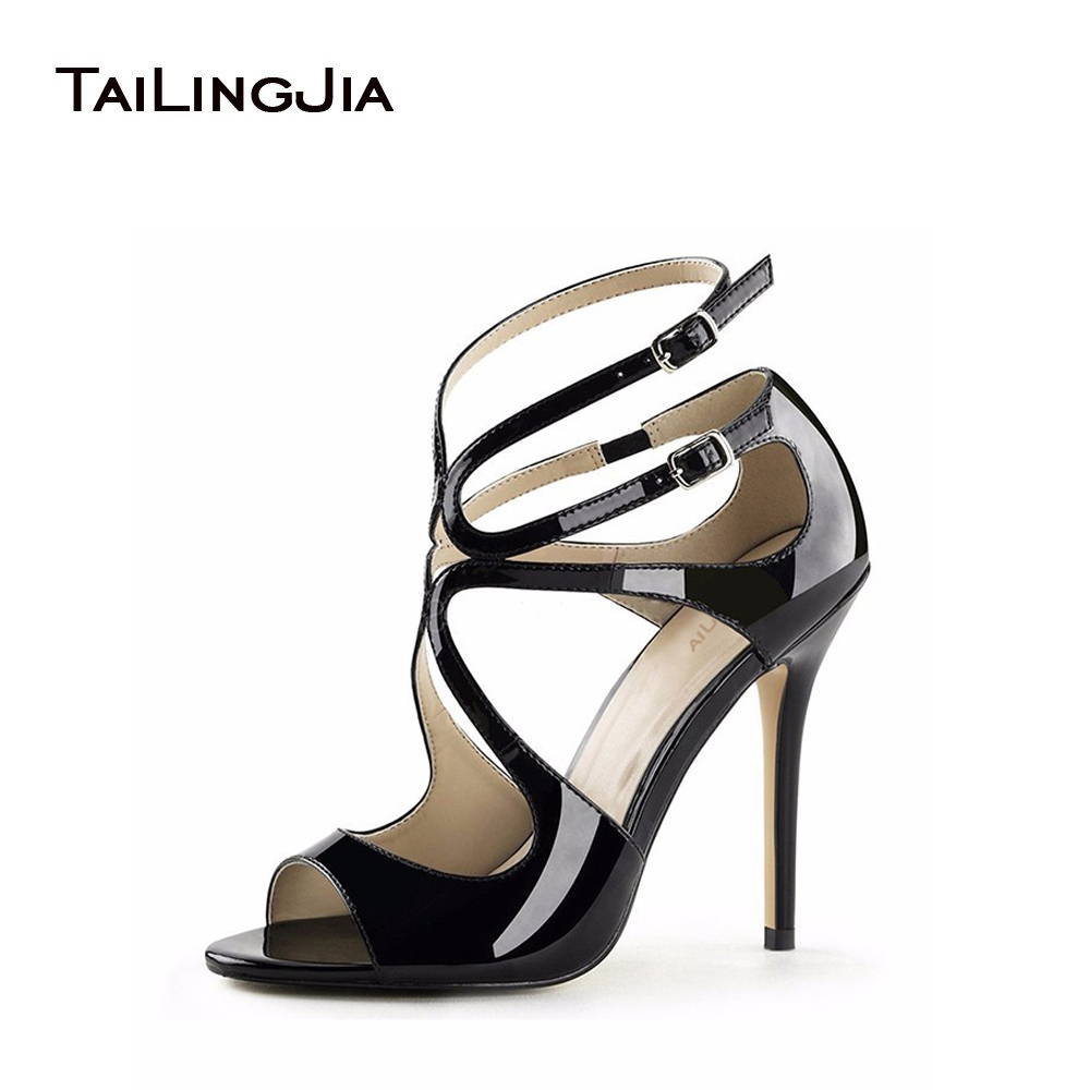 bab27c280fc 2018 Peep Toe Shiny Black Strappy Sandals Ankle Strap Stilettos Sliver Gold  Elegant Heels Patent Leather Woman Summer Shoes