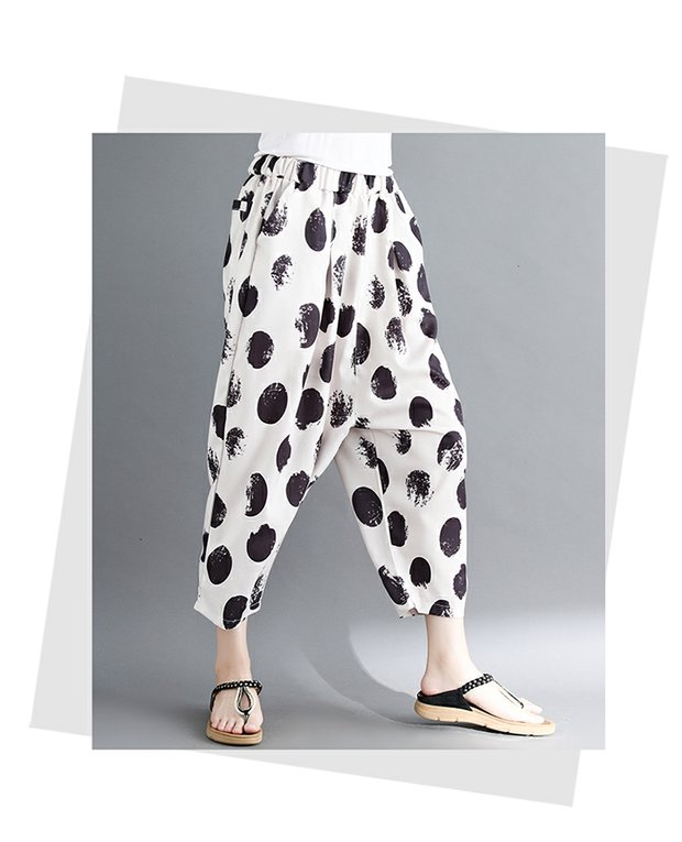 women white and black dot harem pants 2018 summer new loose fashion high-waist button fly female trousers pant 8