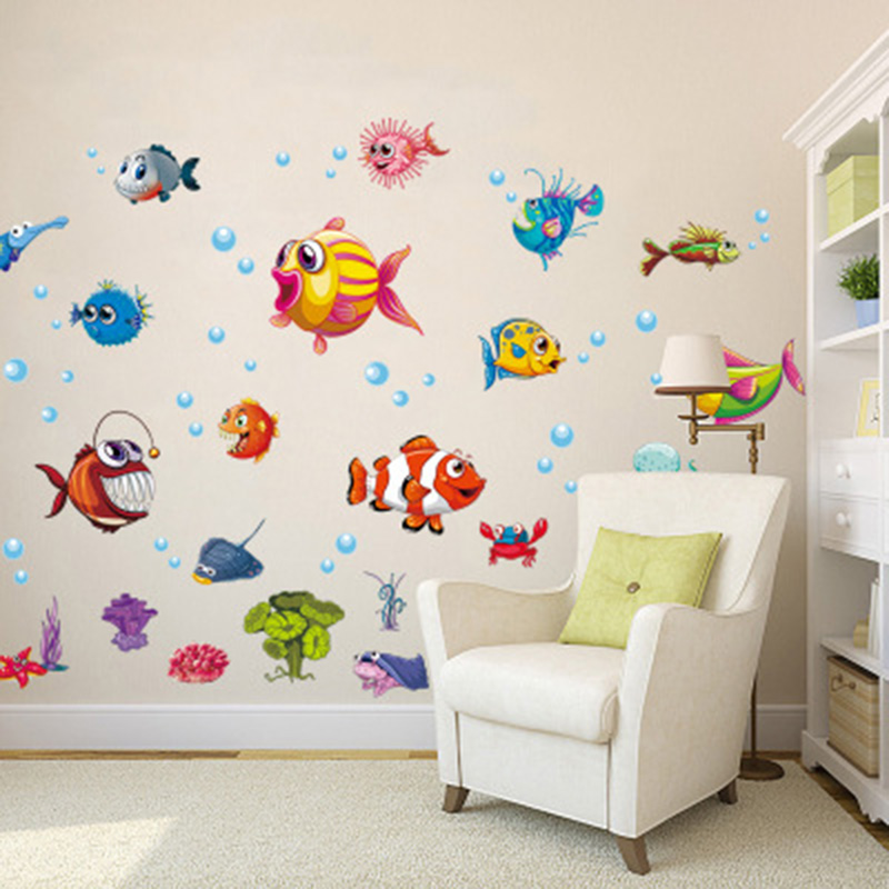Cartoon Fish Undersea World Wall Sticker Kids Room Nursery Decor Wall Decal Bathroom WC Cabinet Wallpaper Poster Wall Graphic
