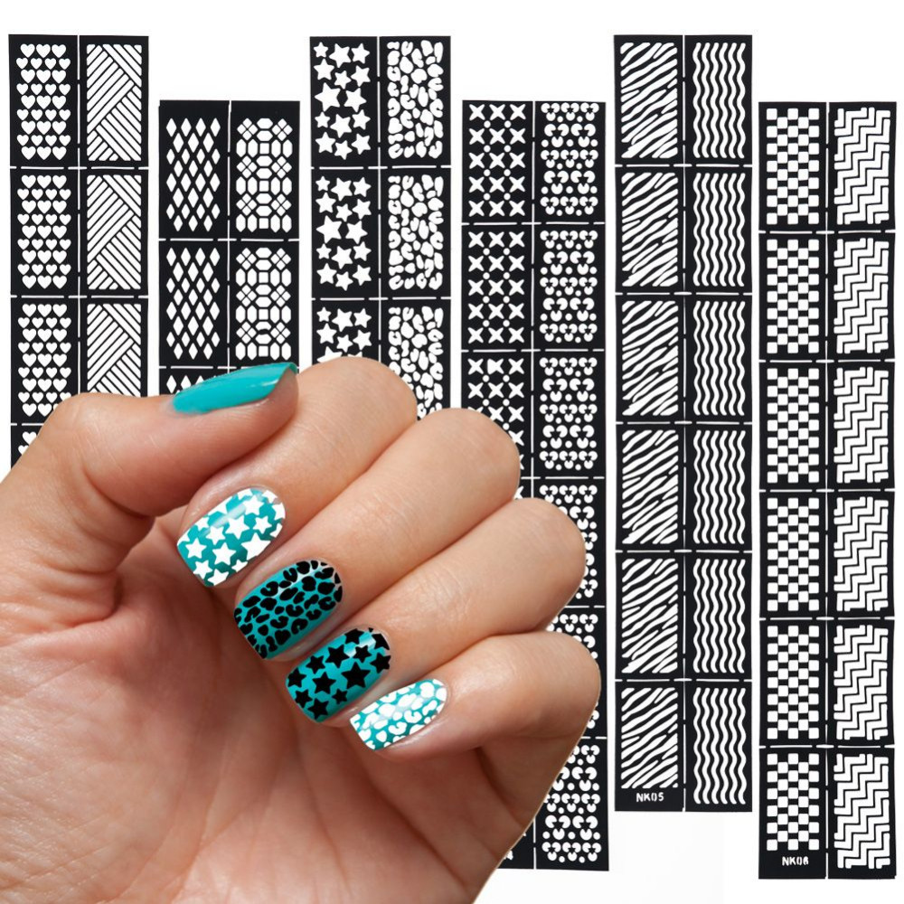 LCJ 1 Pc Reusable Stamping Tool DIY Nail Art Hollow Template Stickers Stamp Stencil Guide, 12 Styles For Choose