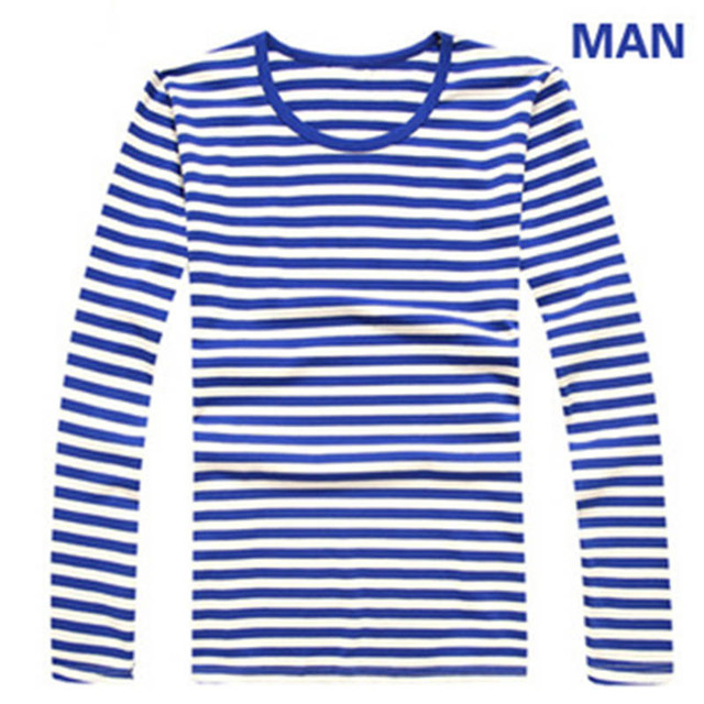 Striped long sleeves Men Women T-shirts Casual Spring Autumn t shirt Loves Boy and girl black white stripes Tops Plus Size