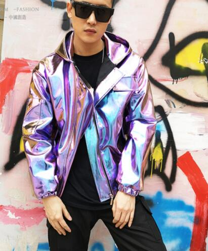 S-3XL 2019 HOT New Nightclub Men clothing singer Fashion DJ GD Hip-hop hooded loose PU leather jacket hairstylist stage costumes
