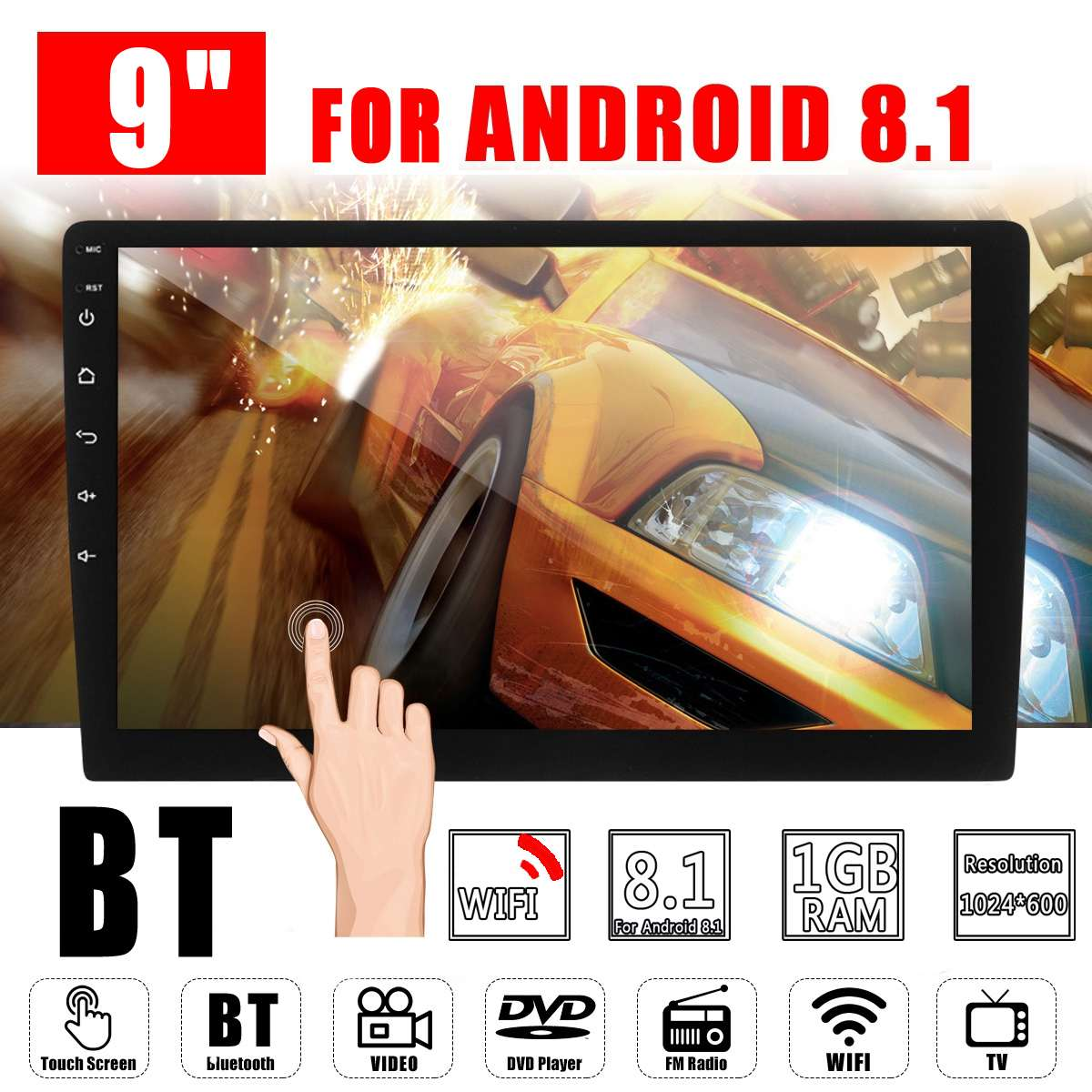 Car Multimedia Player 9 Android 8.0 Car Stereo 2DIN bluetooth WIFI GPS Nav Quad Core Radio Video MP5 Player support 2D/3D MapCar Multimedia Player 9 Android 8.0 Car Stereo 2DIN bluetooth WIFI GPS Nav Quad Core Radio Video MP5 Player support 2D/3D Map