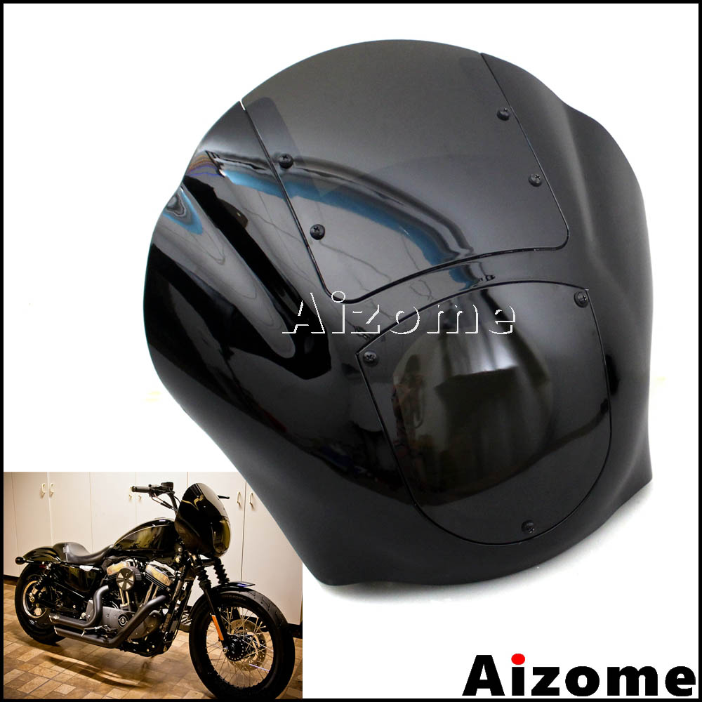 Black Motorcycle Headlight Fairing Headlamp Quarter Fairing For Harley XL XLH 1200 <font><b>Iron</b></font> <font><b>883</b></font> XL883N FXR FXD Dyna Sportster image