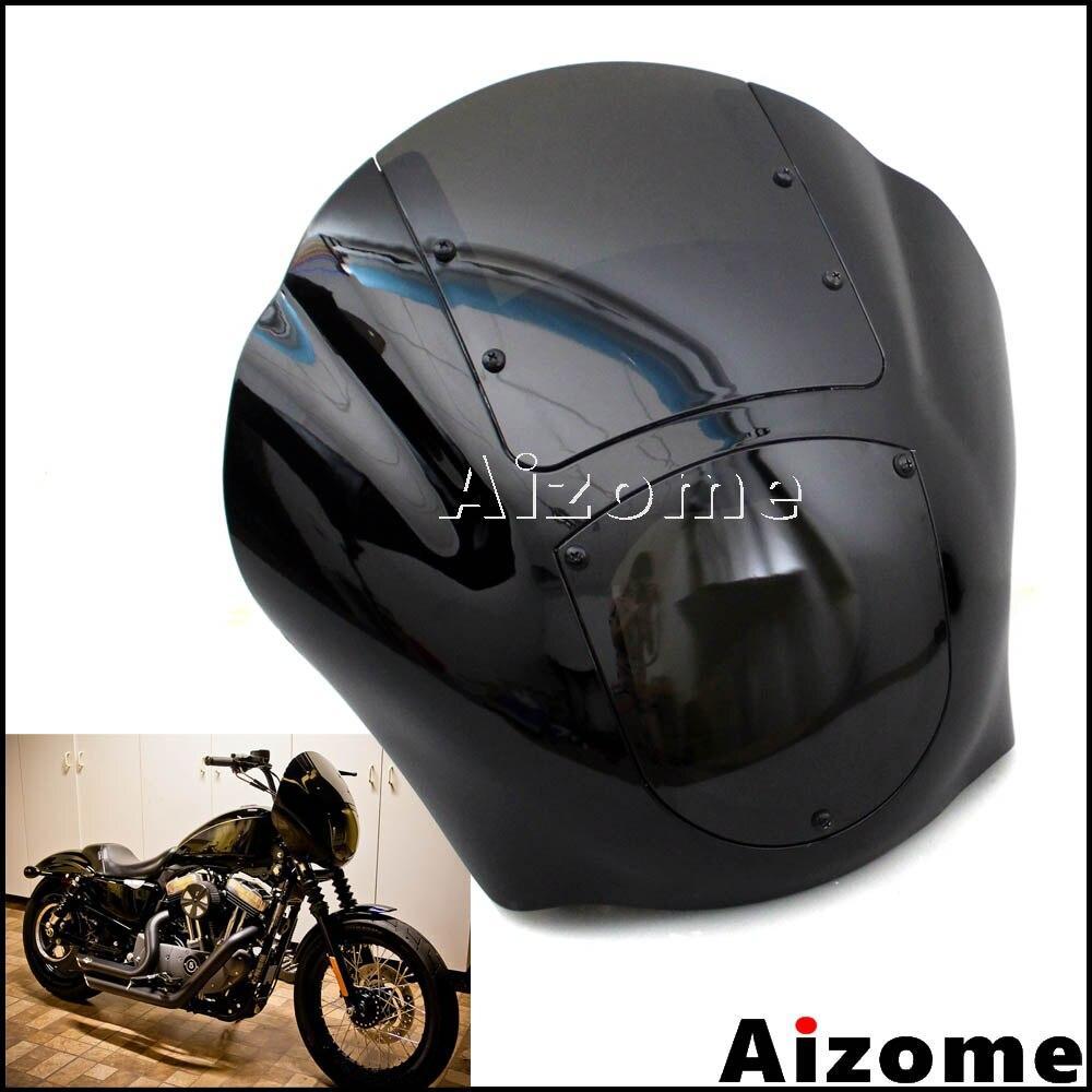 Noir moto phare carénage phare quart carénage pour Harley XL XLH 1200 fer 883 XL883N FXR FXD Dyna Sportster