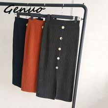 Genuo New 2019 Women Knitting Long Skirt Autumn Winter Casual Ladies Pleated Buttons Slit Elegant Female Girls