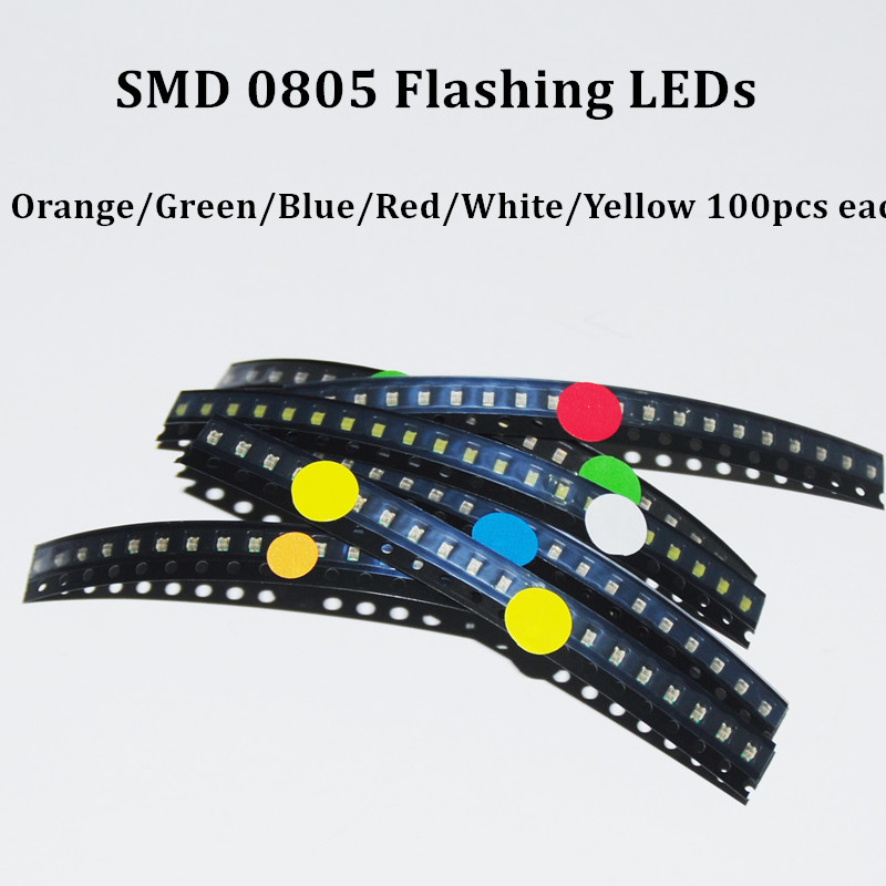 Realistic 600pcs Flash 0805 Led Diode Mixed Orange Red Jade-green Yellow Blue White 0805 Smd Leds Blinking Flashing Led Diod Catalogues Will Be Sent Upon Request