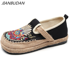 JIANBUDAN/ National style embroider Fashion flat shoes Women's casual canvas shoes Breathable comfort Shallow linen shoes 35-40