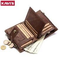 KAVIS Genuine Leather Men Wallet Coin Purse Small Male Cuzdan Walet Portomonee Rfid PORTFOLIO Vallet Money