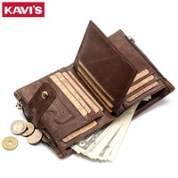 KAVIS Genuine Leather Men Wallet Coin Purse Small Male Cuzdan Walet Portomonee Rfid PORTFOLIO Vallet Money