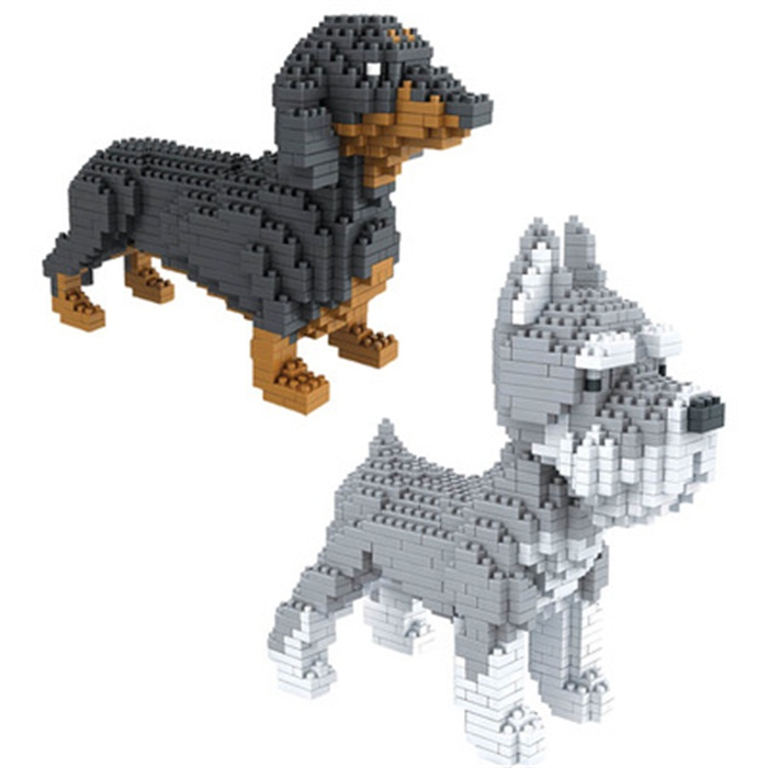 Montage blöcke Tier Modell Corgi Spielzeug Hund mini block dackel ...