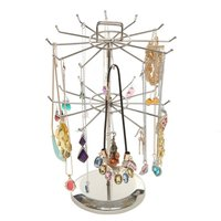 Multifunction Two Layer Metal Necklace Chain Bracelet Holder Jewelry Display Stand Rack Hanger Organizer Rotatable Show Rack