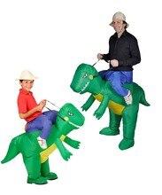 Пурим костюмы Airblown вентилятор работает T-Rex надувные костюм с динозавром комплект костюм для детей и взрослых Dino Rider