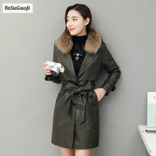 New 2017 winter fashion thickening cotton padded pu leather long coat women slim fit fur turn-collar jacket with belt MF1