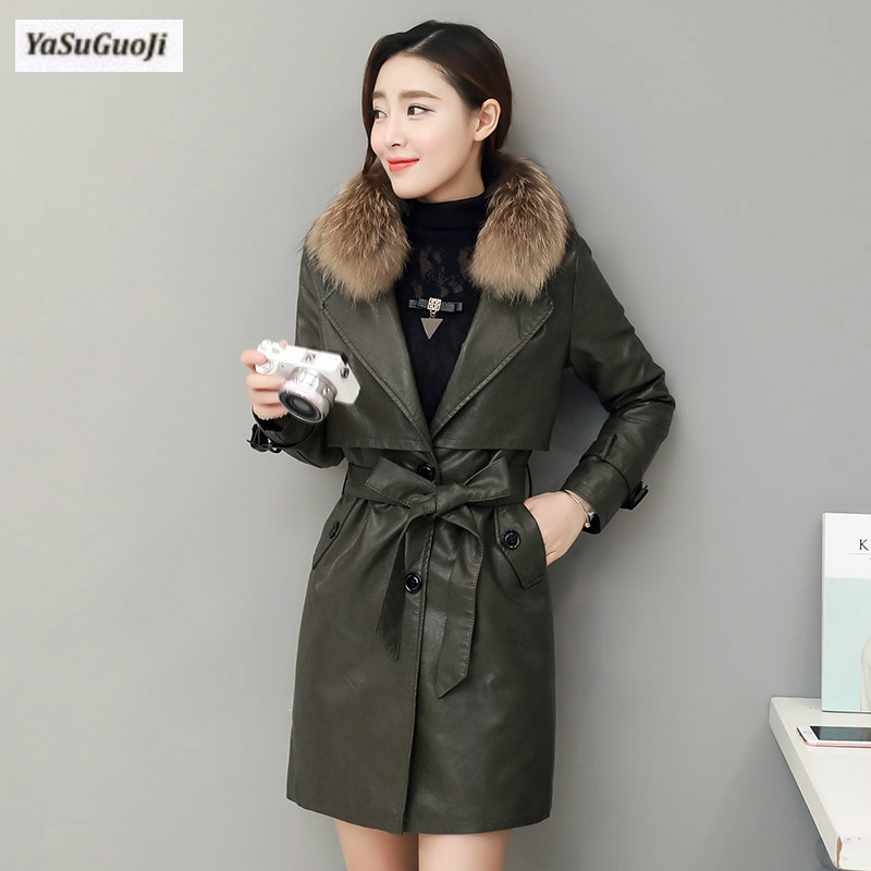 New 2017 winter fashion thickening cotton padded pu leather long coat women slim fit fur turn-collar jacket with belt MF1 red planet ex tune hotel pattaya 3 паттайя