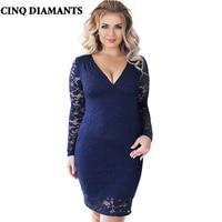 CINQ DIAMANTS Women 6XL Plus Size Lace Dress Blue Red Black Lace Big Size Dress Female