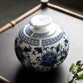 Рождественские сине-белые керамические банки для чая  герметичные банки для чая Tieguanyin Puer  Большие Портативные банки для чая  керамические к...