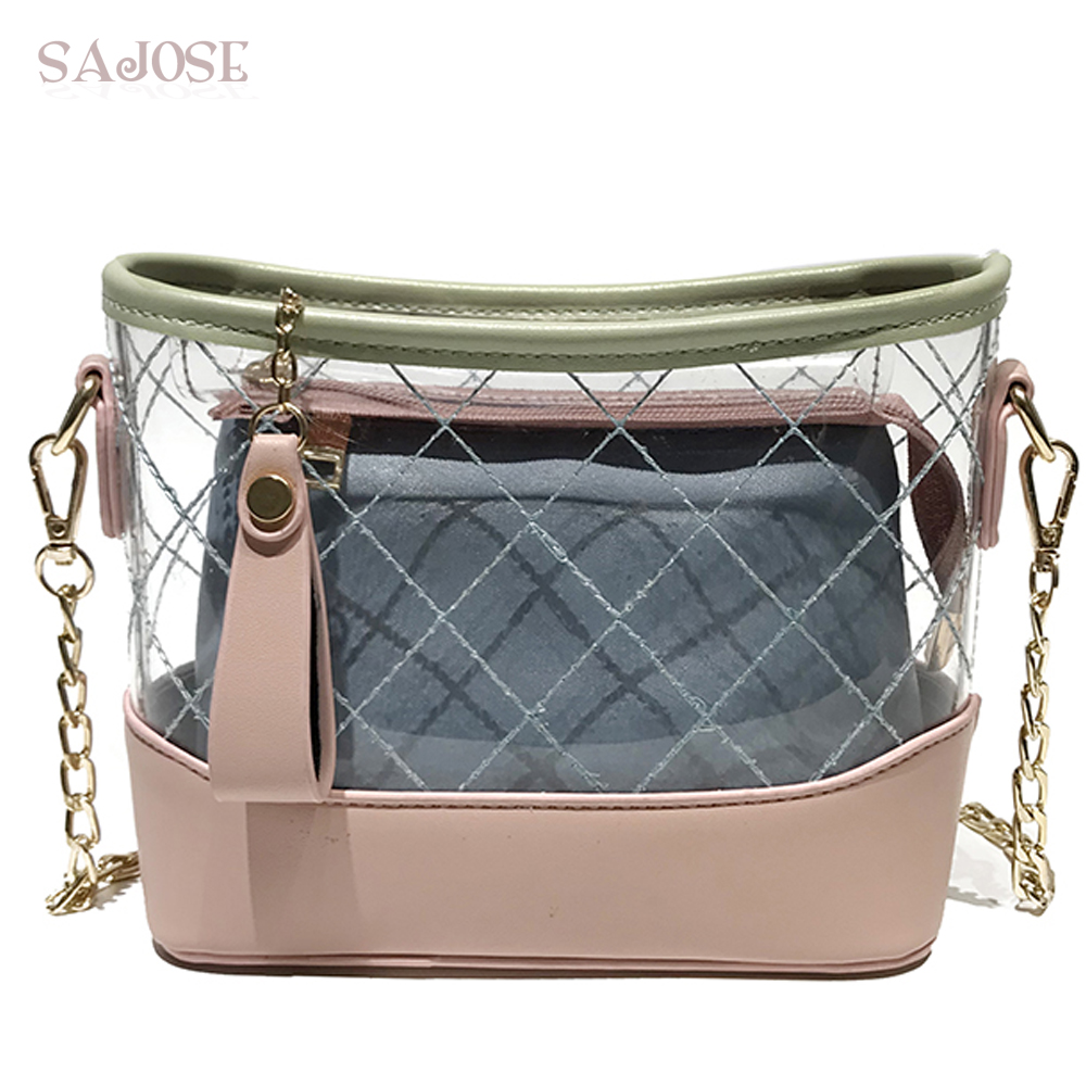 Famous Brand Women Bag Fashion Clear Transparent Leather 2 sets Handbag Shoulder Bag Crossbody Bag For Girls Jelly Composite Bag