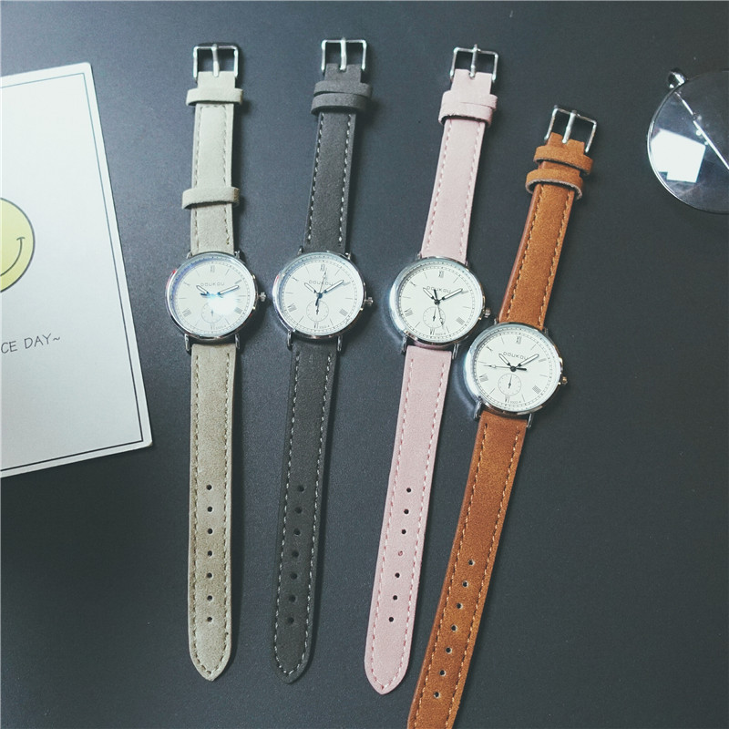 Simple Fashion Women Casual Watches Modish Scrub Leather Silver Female Dress Leisure Wristwatch Girls Watch Reloies Mujer