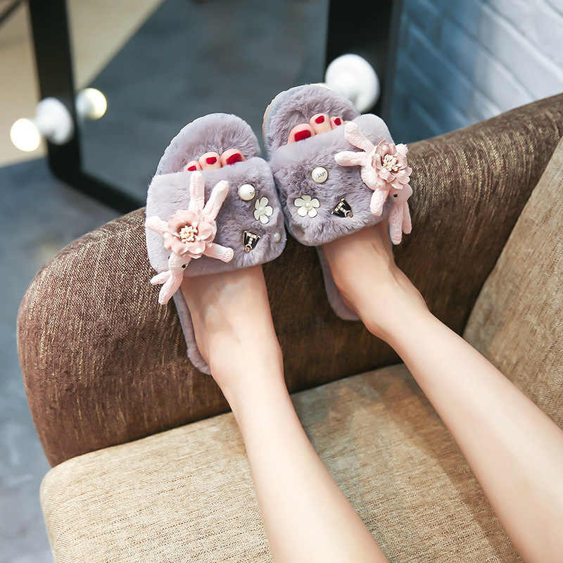 868ad007adae03 cute rabbit decoration fur slippers women designer pearl and flower fur  sandals cozy plush home shoes
