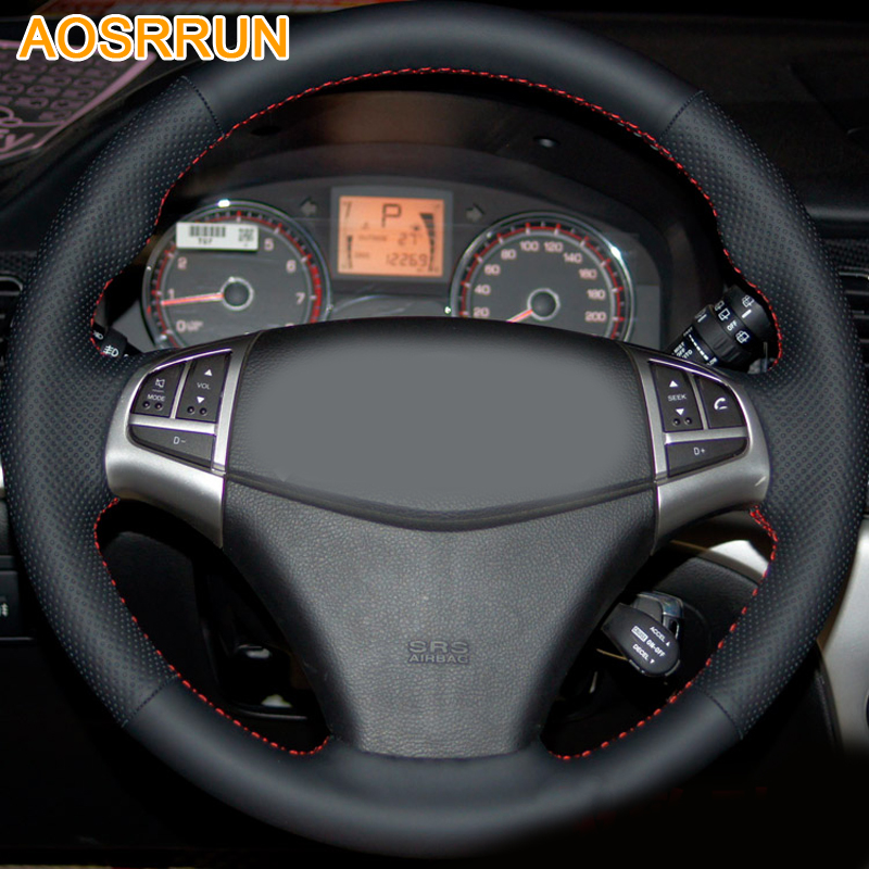 AOSRRUN Leather Hand-stitched Car Steering Wheel Cover For SsangYong Korando 2012 2013 2014 2015 2011 Car accessories image