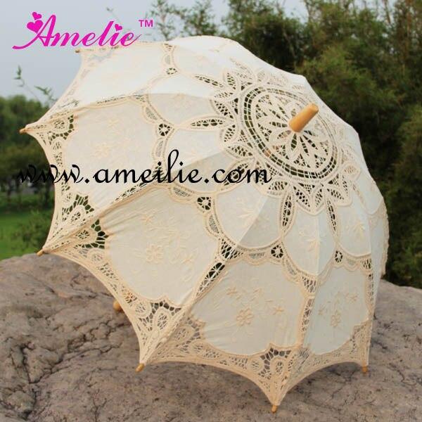 Free shipping Wholesale Cheap Embroidery Battenburg Lace Parasols Wooden Handle Bridal Umbrella,50pcs lot