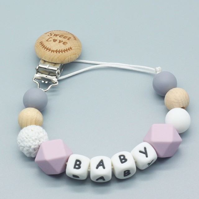 Pacifier-Clips Teething-Toy Nipples Shower Gift Name Baby Silicone Personalized And Wood