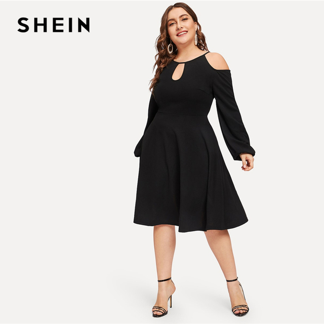 24e505b4fa SHEIN Glamorous Plus Size Black Cold Shoulder Cutout Solid Dress Women 2019  Spring Office Lady Fit