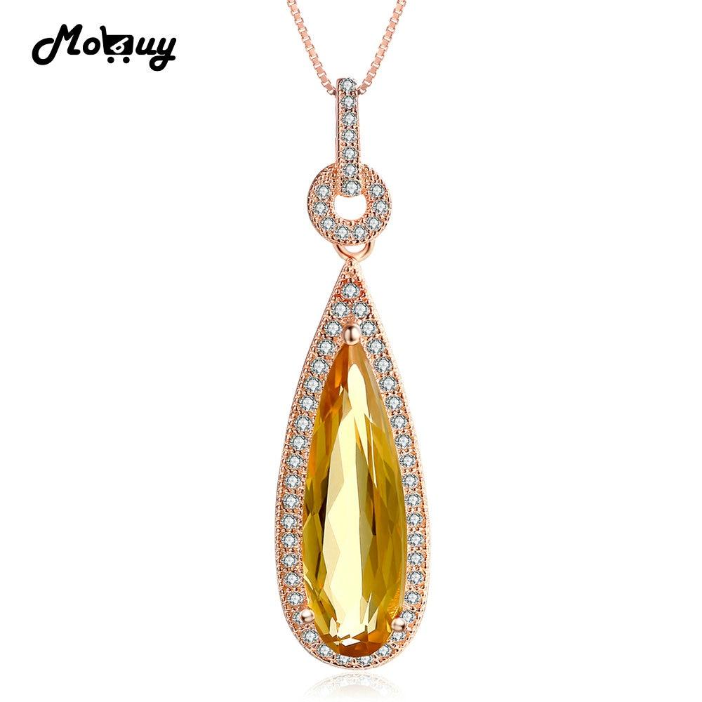 MoBuy MBNI042 Luxury Natural Gemstone Citrine Teardrop Necklace Pendant 925 Sterling Silver Rose Gold Plated Wedding