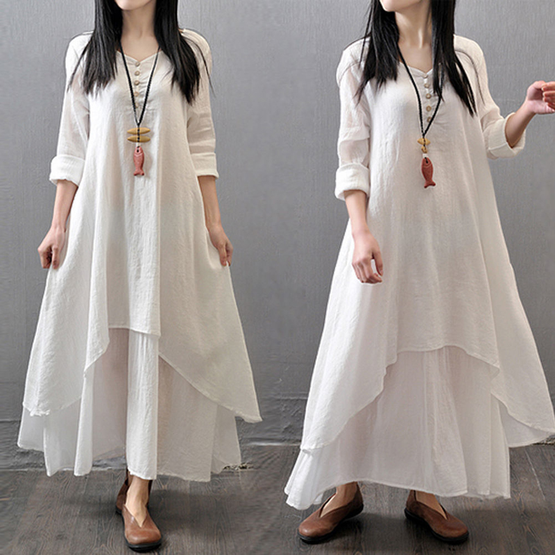 409d4ac752a6 M 5XL Plus Size Fashion Women's Peasant Ethnic Boho Loose Cotton Linen Long  Sleeve Maxi Robe Dress Gypsy Blouse Shirt Dresses -in Dresses from Women's  ...