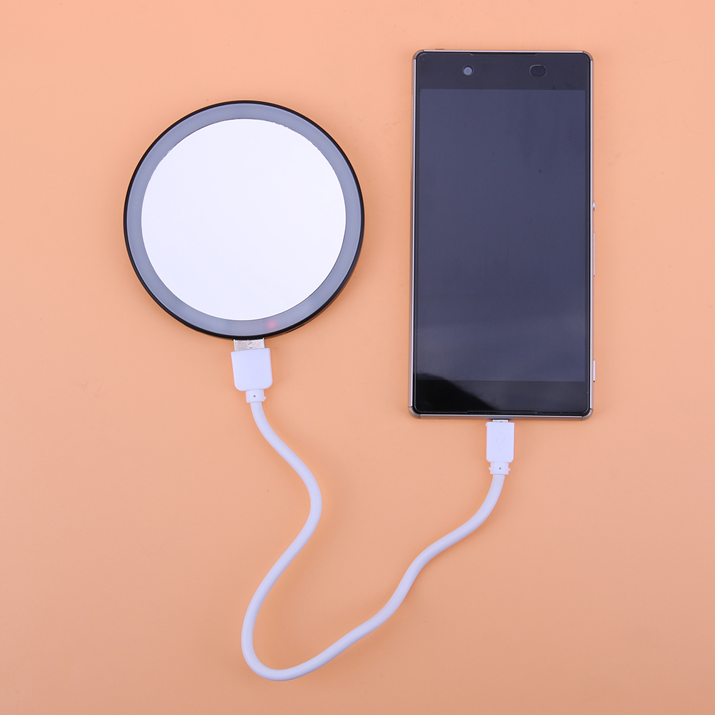 Creative 16 LED Mini Round Makeup Mirror Dual Mobile Power Bank with Clip 3 Light Brightness
