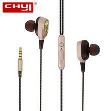 CHYI Dual Dynamic Driver Hi-Fi Earphone Stereo Super Bass Moving Coil Sport Running audifono HIFI Monitor Wired Earbuds With Mic цена 2017