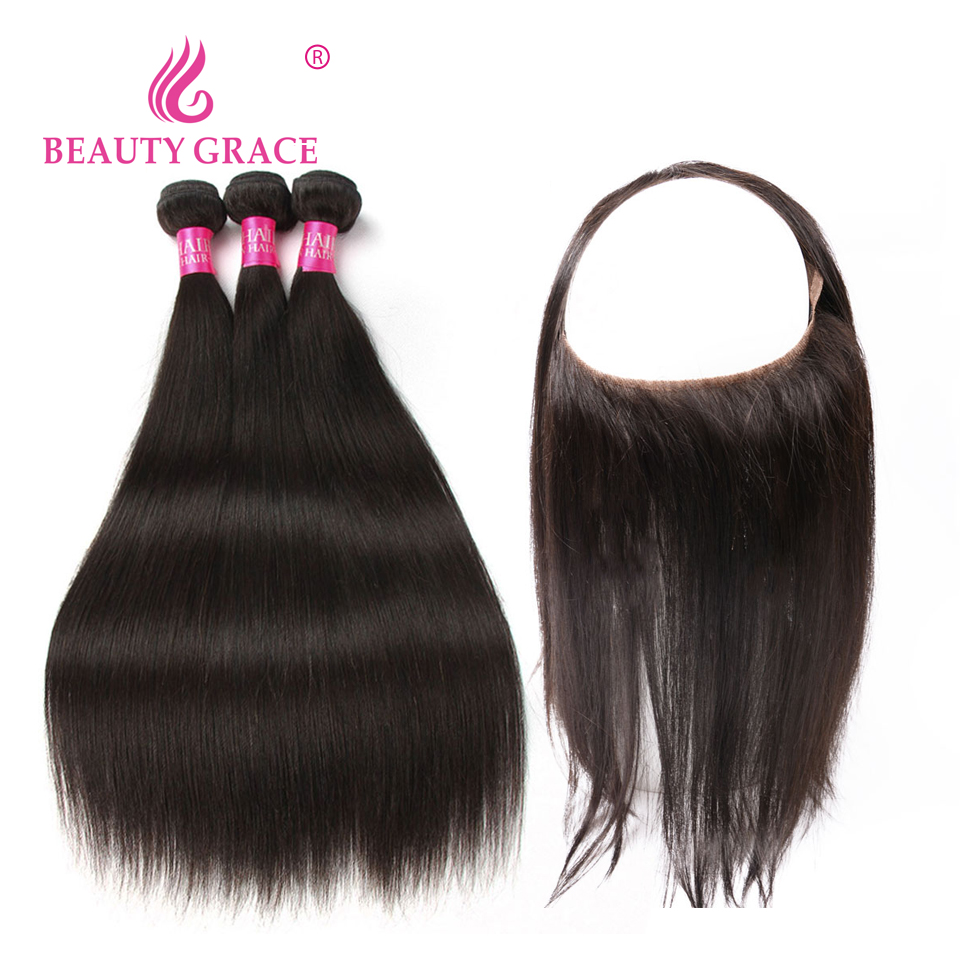 360 Lace Frontal With Bundle Brazilian Straight Hair Non Remy 360 Frontal With Bundles Human Hair Weave Bundles With Frontal