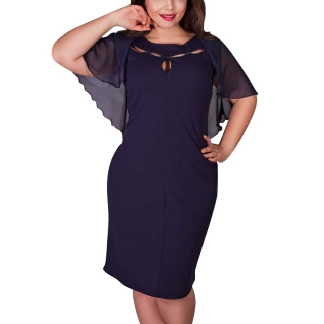 EFINNY Women Sexy Large Size Bodycorn Dress Hollow Out Cape Mesh Dress Party Clubwear Beach Dresses Plus Size L-6XL 1