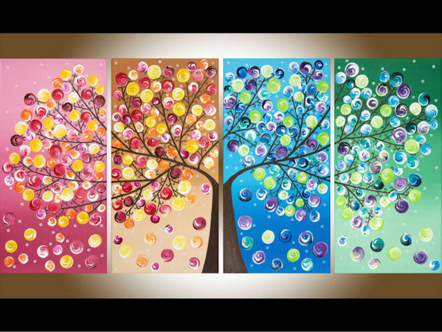 free shipping 4 panel money tree painting canvas wall art picture