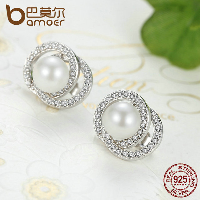 Sterling Silver White Pearl with Push-back Stud Earrings