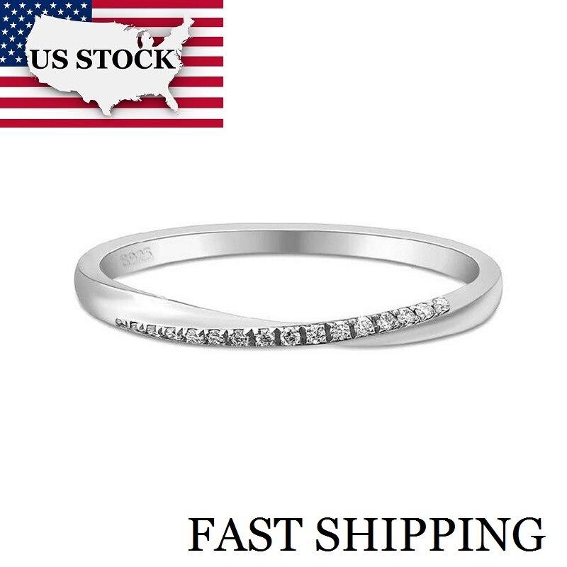 0cbe47b40b65a UU. de Uloveido 925 de plata esterlina Simple anillos para las mujeres de  Zirconia cúbica de la eternidad anillo de boda piedras 40% LJ044