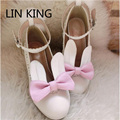 LIN KING Sweet Princess Party Shoes Solid Leather Women Pumps Cosplay Rabbit Thick Heels Buckle Straps Round Toe  Lolita Shoes