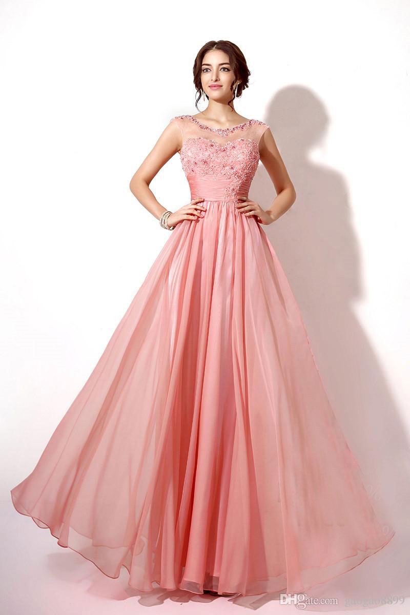 100 real image lace chiffon long bridesmaid dresses coral lilac 100 real image lace chiffon long bridesmaid dresses coral lilac in stock sheer neck cap sleeve maid of honor wedding gowns in bridesmaid dresses from ombrellifo Choice Image